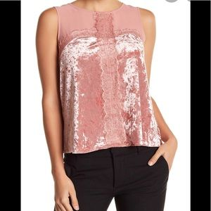 London Times Velvet & Lace Mixed Top